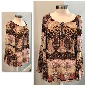 NEW TORK & COMPANY Boho Sheer Top XL EUC